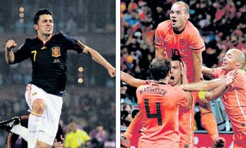 Wesley Sneijder (left) is the Dutch hitman while David Villa's form will be crucial for Spain. Robben (right) too has been an impressive performer.