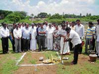 Legislator Y Sampangi performing ground-breaking ceremony for the construction of rooms for students at Swaminathapuram in the city. KDA president Muniratnam Naidu, CMC Rasheed Khan, vice president Suma are also seen. dh photo