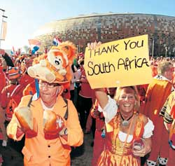 Dutch fans express their appreciation for the show put up by the South Africans. Reuters