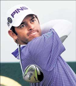 Louis Oosthuizen in action in the second round of the British Open. AFP