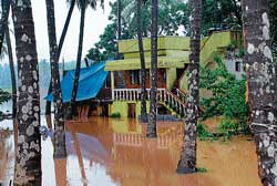 Several houses like the one in photograph at Jeppinamogaru were inundated in rainwater on Friday morning after heavy rains lashed the region on Thursday night.  dh photo
