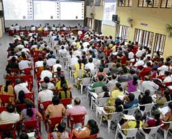 All for seats: Candidates attending the CET counselling in Bangalore on Tuesday. dh photo