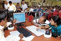 Nearly 1,800 candidates appeared for CET counselling process on Monday. DH Photo