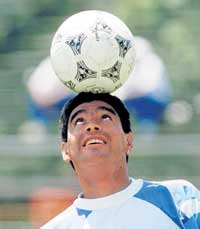 Diego Maradona, who spurred Argentina to World Cup win in 1986 as a player, in his pomp. Diego Maradona, who spurred Argentina to World Cup win in 1986 as a player, in his pomp.