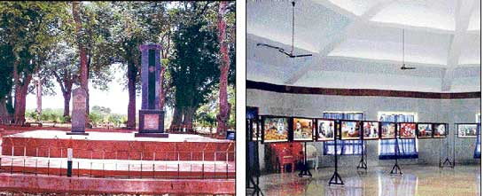 The Veerasoudha constructed in memory of freedom fighters. A gallery depicting the life and times of freedom fighters. DH photos