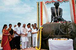 The statue of Mahatma Gandhi unveiled at Malpe beach on Sunday