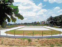 The new rink developed on PPP model by MUDA coming up at Unnathi Nagar, in Mysore. DH Photos