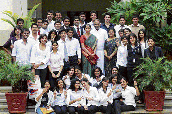 The students of SJCC with faculty members. DH Photo M S Manjunath
