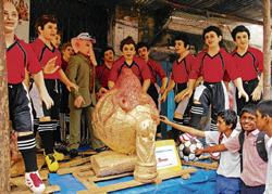 Artisans let their imaginations go wild this season as they create idols of not just Lord Ganesha. In this picture taken at the Mavalli Ganesha Idol market, clay idols of a golden-coloured football, the World Cup trophy, the football team of Spain and Paul, the octopus can be seen.