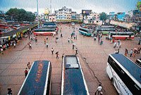 A view of old KSRT C bus stand in Hassan. DH photo