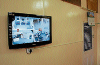 Television displaying images streaming from CCTVs in Mandya hospital. DH Photo