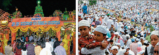 (Left) Devotees thronging 101 Ganapathi Temple at Agrahara in Mysore on Saturday. (Right) Tiny tots greeting each other as others look on after offering Ramzan prayer in Mysore. DH Photos