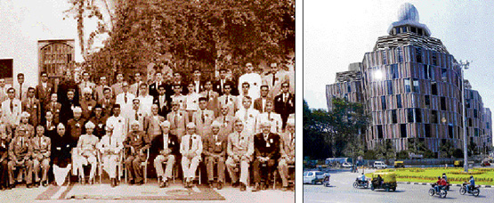 Left:M Visvesvaraya with faculty and student representatives of the UVCE during his visit to the institution in January 1955. Right: An artist's impression of the proposed Mechanical Engineering block at the UVCE.