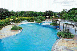 A view of the spacious well maintained pool 'Shallow Blues' on the premises. dh photos