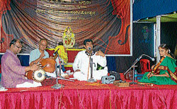 Artists rendering vocal recital in Mysore. Dh photo