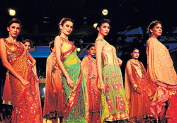 ethnic Models showcasing Surily Goel's designs. dh photos by Dinesh S K