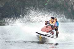 S A Ramdas enjoying jet skiing at Varuna lake in Mysore on Saturday. dh photo