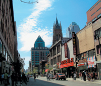 Ever changing:  St Catherine Street in  Montreal. Photo by Utpal Borpujari