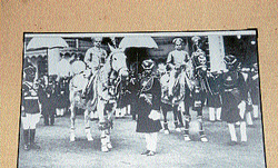 Maharaja Sri Nalwadi Krishnaraja Wadiyar and Yuvaraja Sri Jayachamaraja Wadiyar in Dasara procession- one of the rare photographs on display at 'Historic Dasara Photograhs Exhibition' at Bidadi Hall in Mysore Palace premises. dh photo