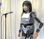 HRP-4, a female robot, sings using a synthesised voice  technology that sounds and breathes like a human.