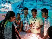 Bright idea: Students of Vidya Vikas Institute of Engineering and Technology explaining about their project to the visitors at  Armed Forces Exhibition, in Mysore on Friday. DH PHOTO