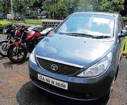 The car used for drug peddling seized by the police in Belgaum. dh photo