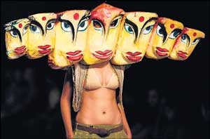 A model displays creations by Nida Mahmood during the Wills Lifestyle India Fashion Week in New Delhi on Tuesday. AFP