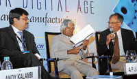 Dassault Systems Pvt Ltd President Andy Kalambi, former President A P J Abdul Kalam and CII Chairman Aroon Raman at the Annual Manufacturing Conference-2010 of CII in Bangalore on Thursday. DH Photo
