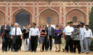 US President Barack Obama's advance team inspects Humayun's tomb monument in New Delhi on Friday. Obama is scheduled to visit the monument during his trip to India. AP