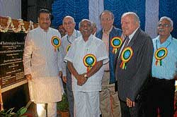 Union Minister of State for Science and Technology Prithviraj Chavan, Director, CFTRI, Dr V Prakash, MP, A H Vishwanath, Director General, CSIR, Prof Samir K Brahmachari, Prof M S Swaminathan and Head, PCT, CFTRI, Dr A G Appu Rao after the unveiling of foundation plaque of community hall, at CFTRI in Mysore on Sunday. dh photo