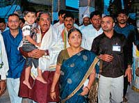 Visit: State BJP President K S Eshwarappa along with his family members arriving at the Hasanamba temple, in Hassan on Sunday. dh photo