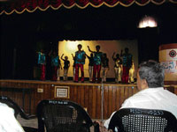 Interesting: A performance by the students of Karnataka Welfare Association for Blind.