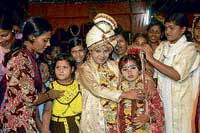 A mock child marriage ceremony in a coastal Odisha village
