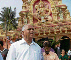 Chief Minister B S Yeddyurappa visits a temple at his hometown Shikaripura in Shimoga Dist on Friday. KPN