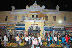 An outer view of Devaraja Market in Mysore . DH photo