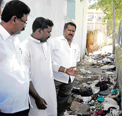Garbage mounds greeted members of Palike Standing Committee on Public Work during an inspection on Monday. DH photo