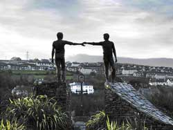 SYMBOLIC  'Hands Across The Divide', a bronze sculpture which depicts the spirit of  reconciliation of Derry. Photos by author