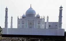 A model of the Taj Mahal made of board and thermacol at Dholka village in Gujarat.  K Bharwad