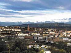 A panoramic view of the town.