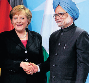 Prime Minister Manmohan Singh with German Chancellor Angela Merkel after a joint press conference in Berlin. PTI