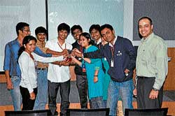Students of Sri Jayachamarajendra College of Engineering (SJCE), Mysore,  seen with the runners-up trophy at the 'GE Edison Challenge' held in Bangalore recently. DH PHOTO