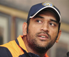 Indian cricket captain Mahendra Singh Dhoni at a news conference in Pretoria, South Africa
