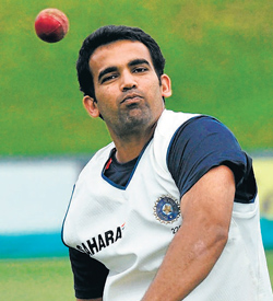 Zaheer Khan during a practice session. AP