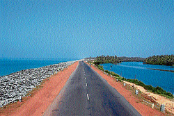 Amidst sea and river: A panoramic view of NH-17 at Maravanthe. DH Photos