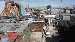 MYSTERIOUS MURDER: Shanty town of Guguletu in Cape Town, South Africa, was the scene of Anni's murder. Inset: Shrien Dewani and Anni. NYT