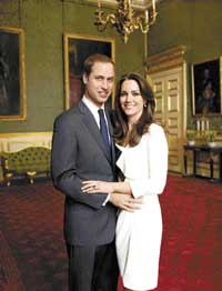 HAPPY COUPLE Prince William and Kate Middleton, who are to be  wedded soon.