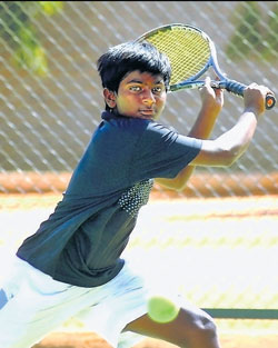 in control: Arjun Muralidhar essays a backhand during his boys under-16  pre-quarterfinal tie. dh photo