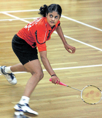 BIG WIN: India's PC Thulasi returns during her semifinal win over compatriot  Sayali Gokhale in the Tata Open badminton tournament in Mumbai on Friday. PTI