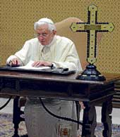 Pope Benedict XVI recording a message for BBC radio's 'Thought for the Day' programme, at the Vatican on December 22. AFP