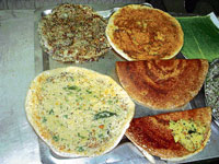 TEMPTING Different kinds of dosas.
